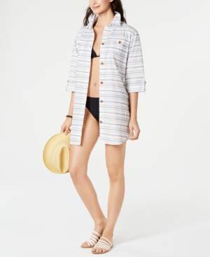 Dotti Baja Striped Cotton Cover-Up Shirt Women's Swimsuit