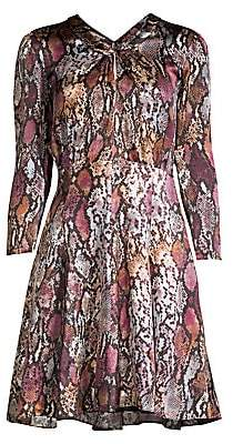Rebecca Taylor Women's Met Python Print Silk Mini Dress