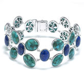 FINE JEWELRY Enhanced Turquoise and Dyed Lapis Sterling Silver Wide-Link Bracelet