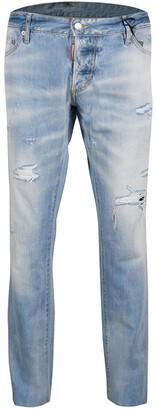 DSQUARED2 Indigo Light Wash Faded Effect Distressed Denim Slim Jeans 3XL
