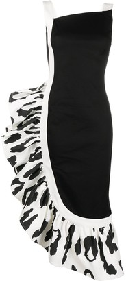 Just Cavalli Asymmetric Ruffle Midi Dress