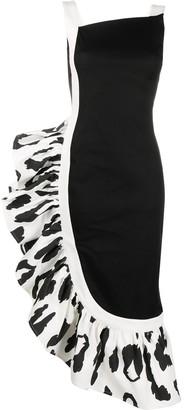 Just Cavalli Asymmetric Ruffle Midi Dress
