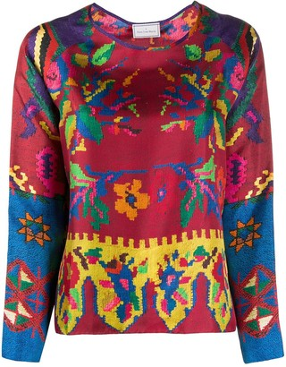 Pierre Louis Mascia Textured Embroidery Print Top