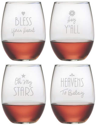 Susquehanna Glass Southern Sayings Set Of Four 21Oz Stemless Wine Glasses