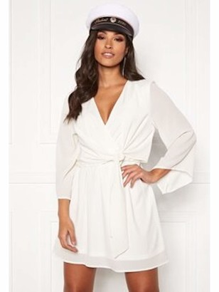 AX Paris Womens White Tie Solid Long Sleeve V Neck Short Fit + Flare Party Dress UK Size:16