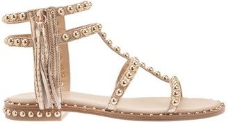 Ash Light Brown Leather Power Studded Sandals