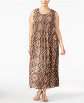 NY Collection Petite Plus Size Smocked Maxi Dress, Created for Macy's