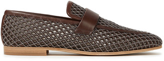 Brunello Cucinelli Bead-embellished Laser-cut Leather Loafers