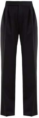 Saint Laurent High-rise Wool-herringbone Trousers - Womens - Black White