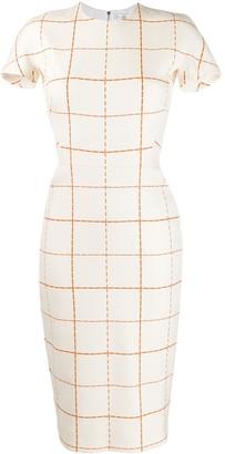 Victoria Beckham Checked Midi Dress