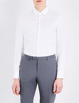 HUGO BOSS Grid-print slim-fit cotton shirt