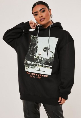 Missguided Tall Black Bad Influence Graphic Hoodie