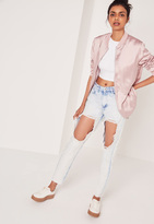 Missguided High Rise Open Leg Skinny Jeans Bleached Blue