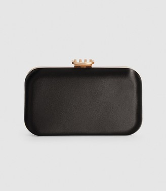 Reiss Nina - Satin Box Clutch in Black
