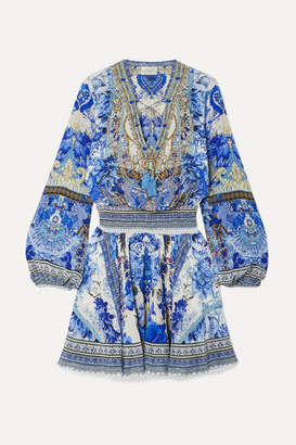 Camilla Embellished Printed Silk Crepe De Chine Mini Dress - Bright blue