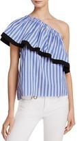 Milly One-Shoulder Stripe Top