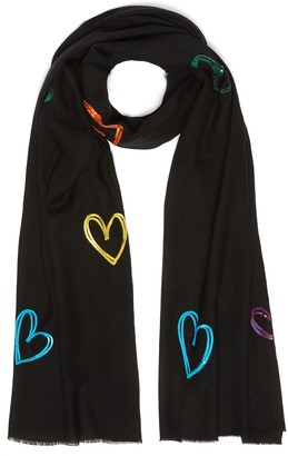 Janavi 'Seasons of Love' sequin embellished heart Merino wool scarf