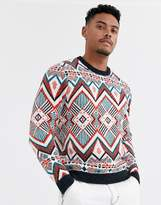 Asos Design DESIGN knitted heavyweight sweater in multi color design