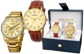 Akribos XXIV Men's Swiss Quartz Multifunction Gold-Tone Strap/Bracelet Watch Set