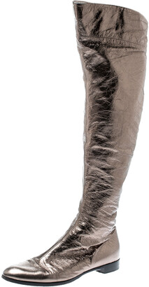 Sergio Rossi Metallic Grey Leather Knee Length Boots Size 39