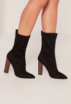 Missguided Black Microfibre Wooden Heel Boots