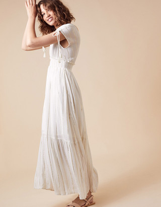 Monsoon Metallic Stripe Maxi Dress with Sustainable Viscose Ivory