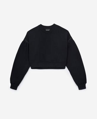 The Kooples Cropped black fleece sweatshirt with studs