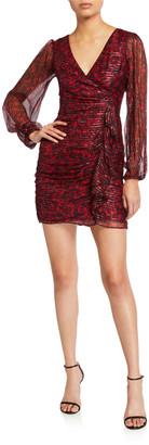 N. Carole V-Neck Long-Sleeve Side-Drape Dress