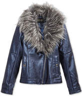 Jessica Simpson Faux-Leather Jacket with Faux-Fur Collar, Big Girls (7-16)