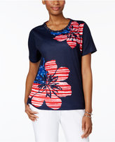 Alfred Dunner Lady Liberty Flag Floral-Print Top
