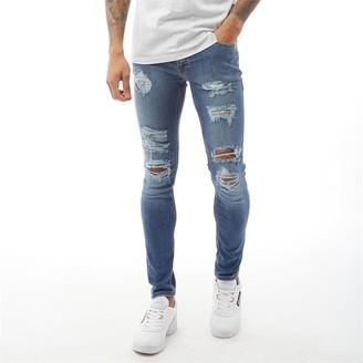 Jack and Jones Mens Liam Original AM 506 Skinny Fit Jeans Blue Denim