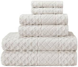 Enchante Home Glossy 6-Piece Turkish Cotton Towel Set, Cream