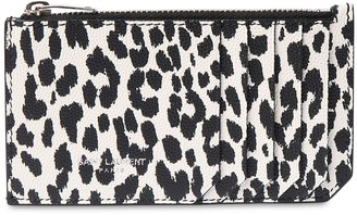 Saint Laurent Animalier Leather Zip Card Holder