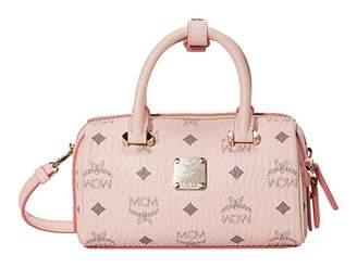 MCM Essential Visetos Original Boston 18 (Powder Pink) Handbags