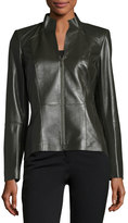 Lafayette 148 New York Amia Leather Double-Zip Jacket, Hunter