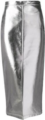 Fendi high-waist metallic skirt
