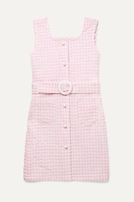 Solid & Striped Kids - Belted Gingham Seersucker Dress - Pink