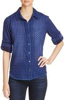 Side Stitch Gingham Button-Down Top