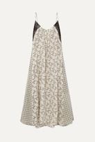 Yvonne S Lace-paneled Printed Linen Maxi Dress - Light green