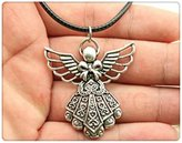 Nobrand No brand 42*39mm antique silver tone angel pendant, leather chain necklace