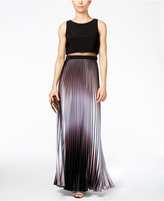 Betsy & Adam Pleated Ombré Illusion Gown