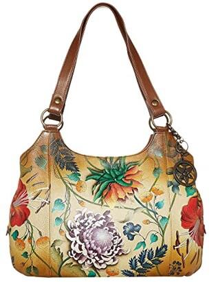 Anuschka Large Triple Compartment Hobo 652 (Caribbean Garden) Hobo Handbags