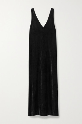 Ninety Percent + Net Sustain Micro Modal-blend Velour Midi Dress - Black