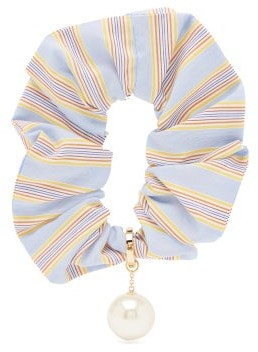 Miu Miu Pearl-embellished Striped Scrunchie - Blue Stripe