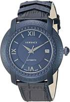 Versace Men's 'DV-25' Swiss Automatic Stainless Steel and Leather Casual Watch, Color: (Model: V13020016)