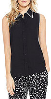 Vince Camuto Button Down Contrast Collared Blouse