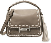Tod's Double T Whipstitched Leather Shoulder Bag - Mushroom