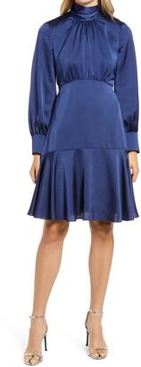 Eliza J High Neck Shirred Long Sleeve Satin Dress