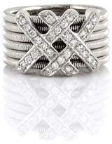 18K White Gold 0.28ct. Pave Diamond Double X Ring Size 5.5