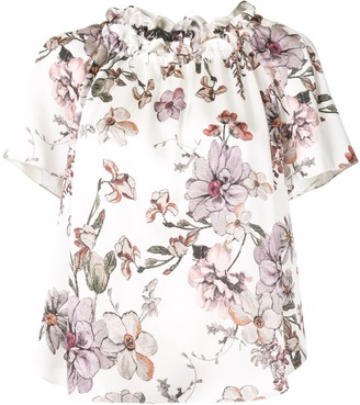 Adam Lippes Short-Sleeve Shirred Neck Floral Top